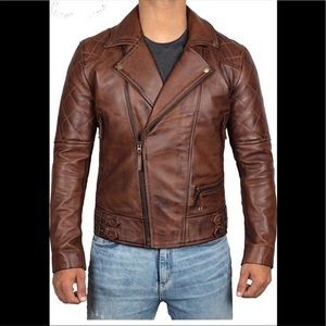 💼 Decrum real leather brown motor jacket NWT